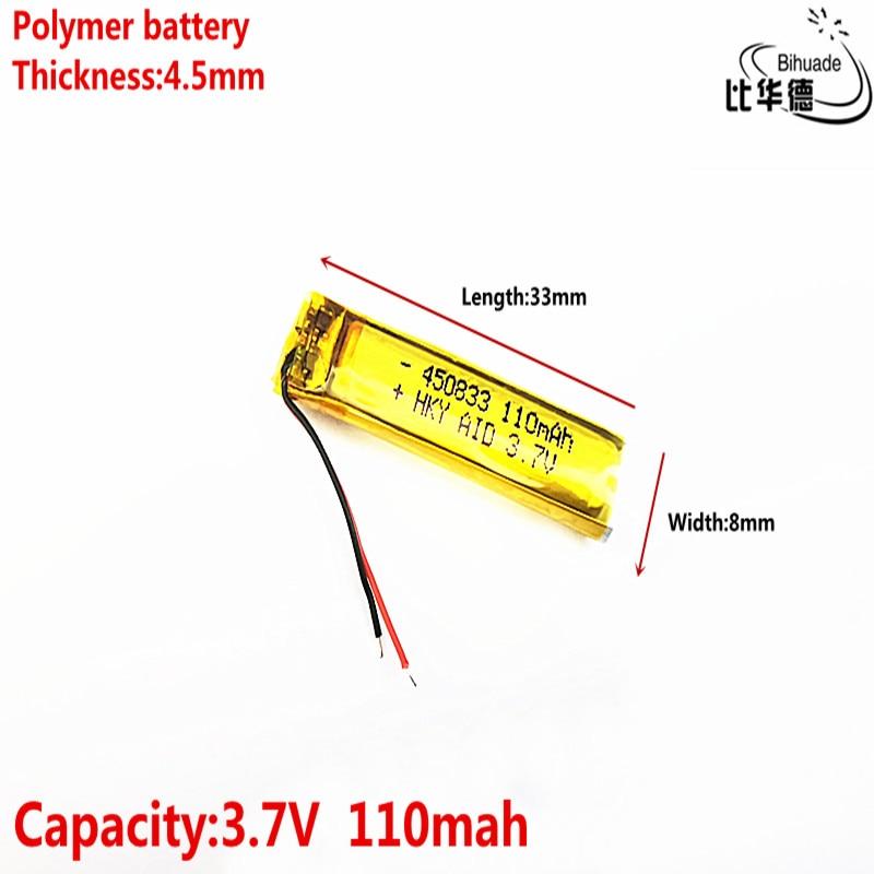 Celdas de batería recargables de iones de litio li-po 3,7 V 110mAh 450833, para Mp3, MP4, MP5, GPS, PSP, bluetooth móvil
