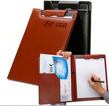 Creative Portable Portfolio Presentation File Folder Business Contracts Conference Folder Black Brown PU Leather A4 Padfolio