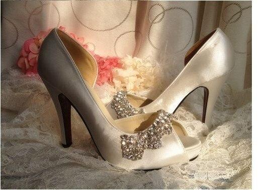 2018 High Heels Sandals Shoes Satin Rhinestone Peep Toes Platform Pumps Wedding Lady Formal Dress Shoes Size 34-41