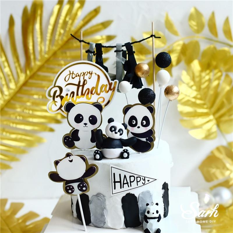 Bling Panda bambú Topper de la torta de niño de cumpleaños, tortuga decoración de hojas para suministros para fiestas infantiles boda hornear dulces