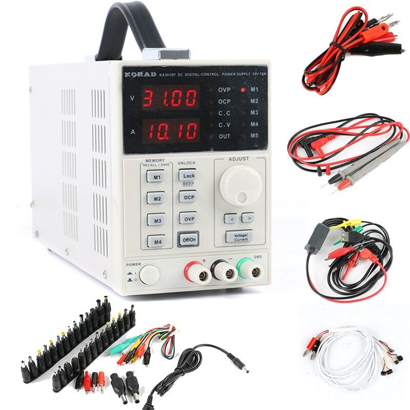 KA3010P Adjustable Digital Linear Programmable Laboratory DC Power Supply 30V 10A 0.01V 0.001A USB RS232 Connect PC+ DC JACK Set
