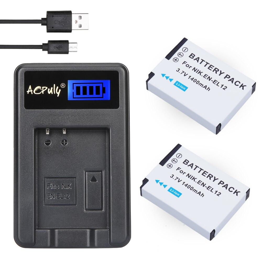 2Pc EN-EL12 bateria en el12 bateria + USB Carregador de LCD Para Nikon COOLPIX S9100 S9200 S9050 P300 P310 P330 s6200 S6300 S9400 S9500