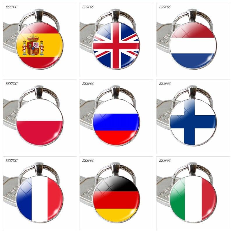 Llavero colgante con diseño de bandera de Europa, país, Reino Unido, Francia, Italia, España, Polonia. Países Bajos, Rusia, Irlanda