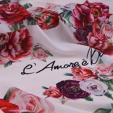 Big flower letter printed chiffon fabric, soft chiffon thin fabric for dress, long beach dress chiffon clothing tissue fabric