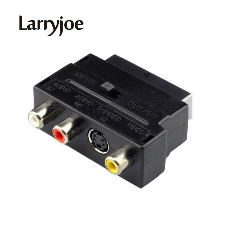 Larryjoe Горячая продажа RGB Scart композитный 3RCA S-Video AV ТВ аудио адаптер или видео DVD рекордер ТВ телевидение проектор
