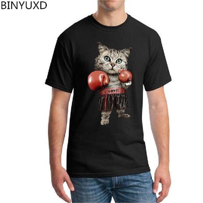 Boxinger BINYUXD para hombre, camiseta de moda para gato con estampado 3D, camiseta de verano Kawaii de talla grande Puglism, camisetas para hombre bóxer fuerte