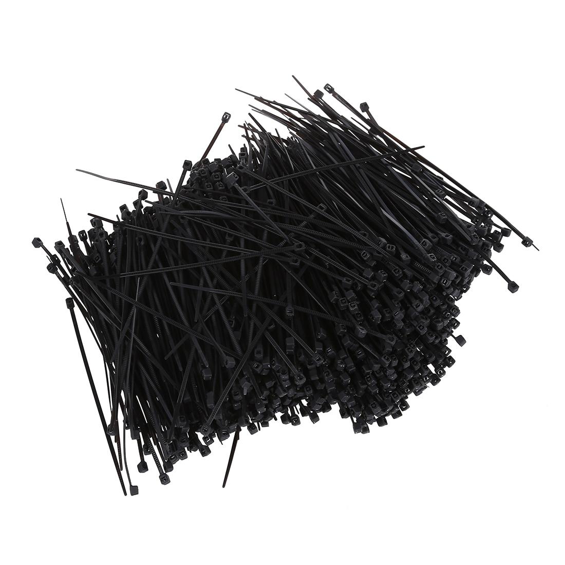 1000 Pcs Schwarz nylon Kabelbinder Befestigen Wrap 60mm x 2mm
