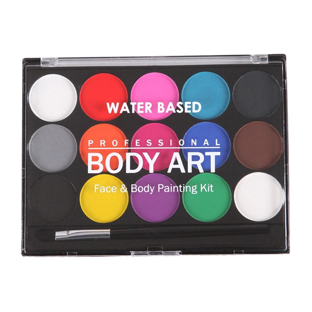 Maquillaje profesional de 15 colores a base de agua y pintura corporal + 1 pinceles para fiestas
