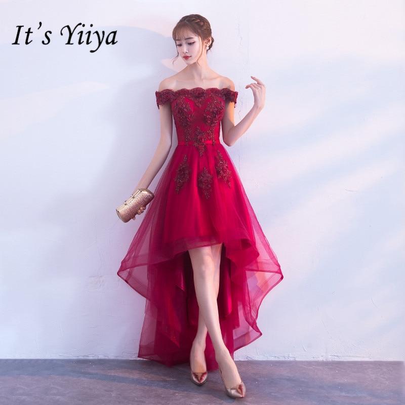 انها YiiYa جديد النبيذ الأحمر قارب الرقبة فستان كوكتيل التطريز الشاي طول فستان رسمي ثوب حفلة H063