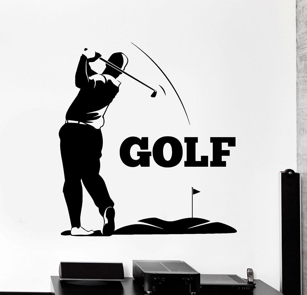 Decalque Da Parede Do vinil Jogador de Golfe Clube de Golfe Jogador Adesivos Esporte Mural Decalques Home Decor Quarto Sala papel de Parede Removível D218