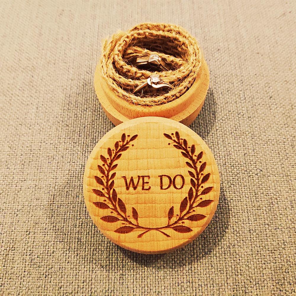 1 piezas ronda rústico ¿con corona de boda, caja de anillo de bodas nupcial ducha joyería de anillo de boda titular de la caja de madera cajas