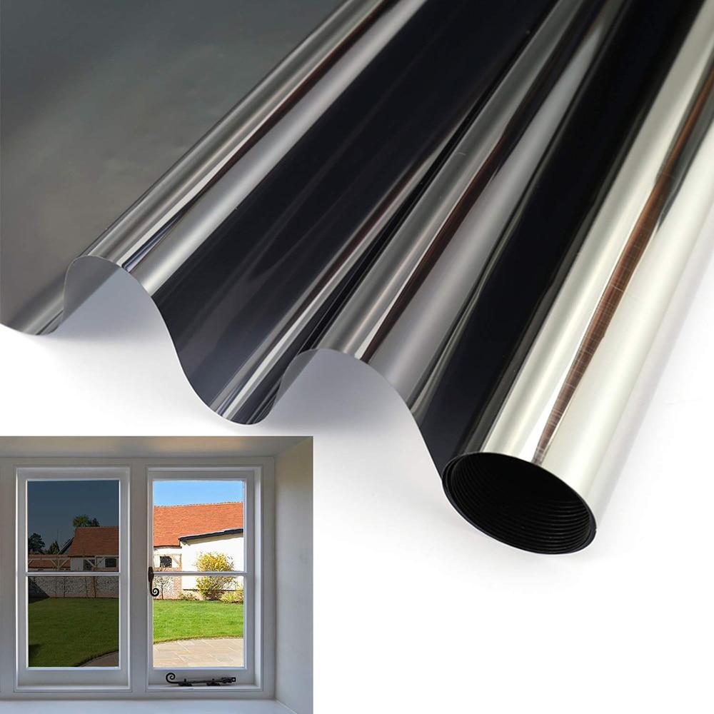 70/80/90 durch 400 Cm Schwarz & Silber Spiegel Solar Reflektierende Fenster Film Ein Weg Privatsphäre Tönung UV Ablehnung Sonne Blockieren Aufkleber