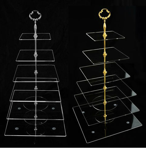 6 Nível Acrílico Praça de Vidro Camadas Cupcake Stand bolo Plexiglass stand Grátis Fedex