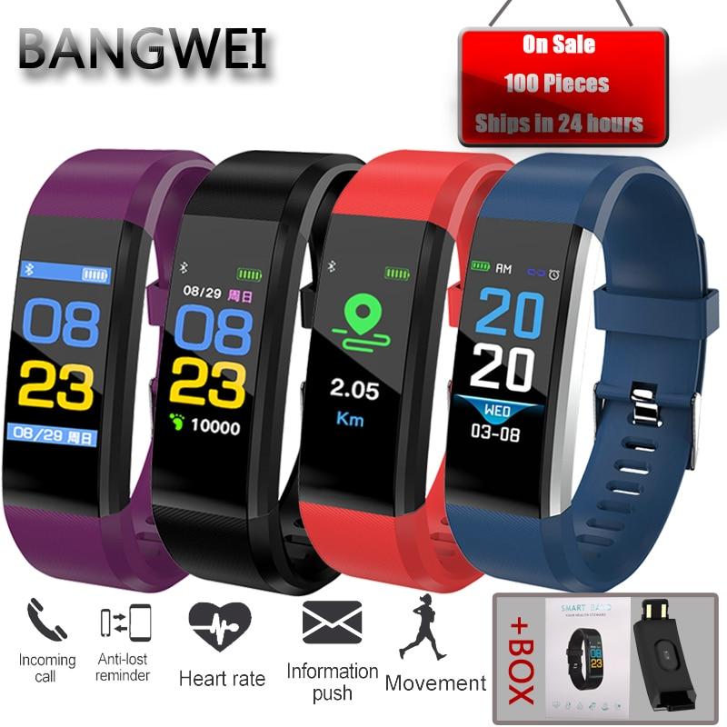 BANGWEI pulsera inteligente Fitness Tracker contador de pasos banda de monitor de actividad reloj despertador vibración para IOS Android hombres mujeres reloj