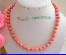Un superbe naturel 10mm rond rose collier de corail brut n350