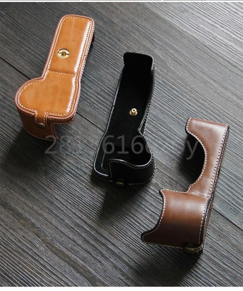 Funda de cuero Pu para cámara Digital, cubierta de medio cuerpo protectora...