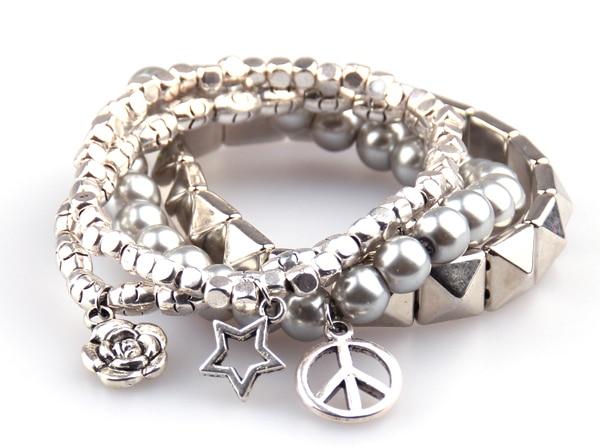 Il trasporto Libero 4 fila hyramid piazza perline perla di Vetro Borda il braccialetto con il fiore di rosa, di pace, pentacolo braccialetto di fascino del regalo Delle Donne