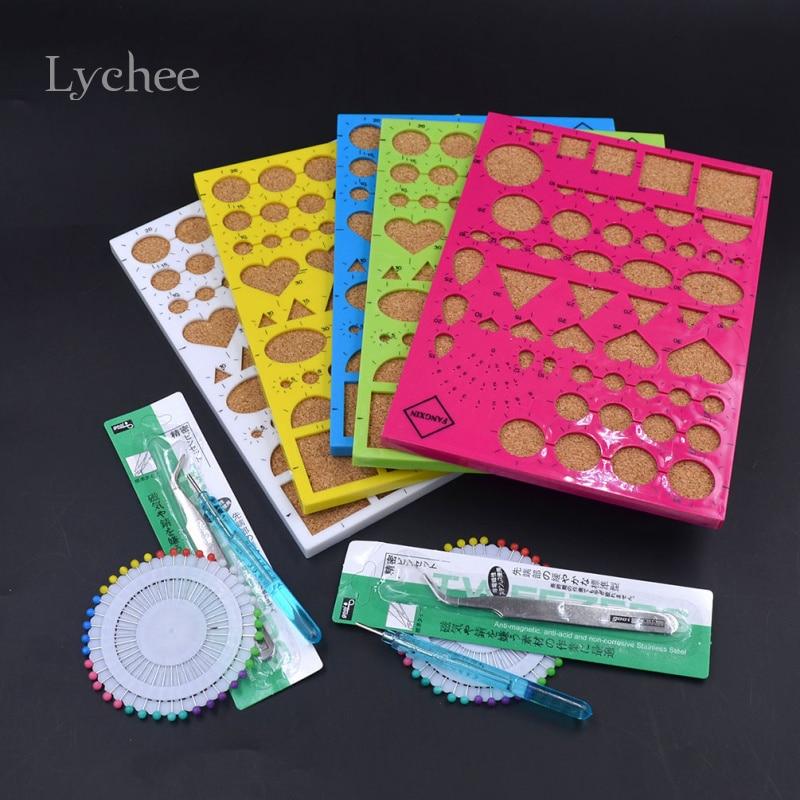 Litchi vie 1 ensemble papier artisanat bricolage Quilling outils de roulement Kit moule aiguilles pince à épiler papier décoration couleur aléatoire