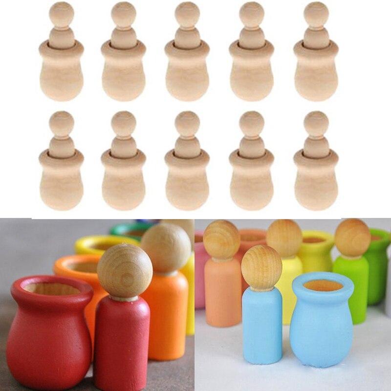 Juguetes Peg muñeca adorno de madera inacabada decoración del hogar pintura manchas manualidades niños suministros anidar 10 unids/set