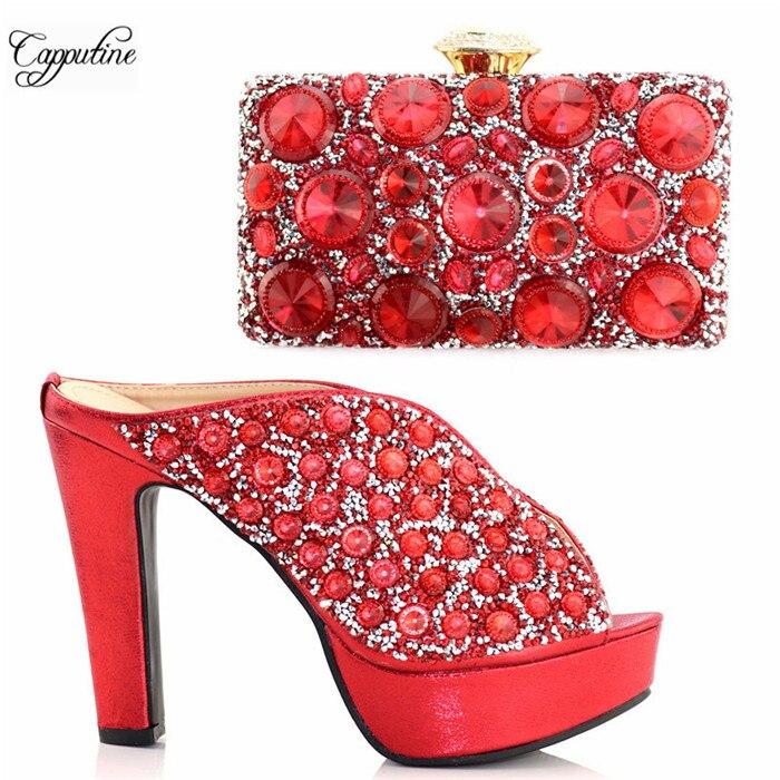 Zapatos y Bolsa DE BODA bonitas sandalias con piedras grandes a juego con bolso S999 en tacón rojo altura 12,5 cm