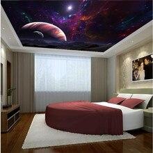 Beibehang-papier peint photo de qualité   flash tissu argent, surface supérieure, de chevet, papier peint mural fantaisie étoiles univers planètes, de grande taille