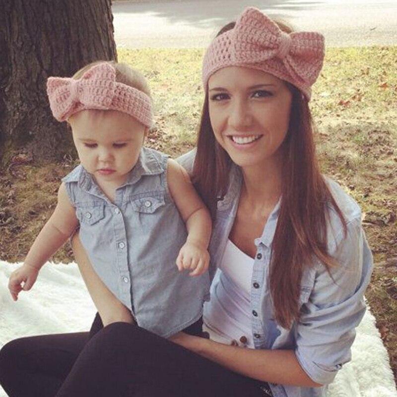 2 pçs/set mãe e bebê combinando artesanal malha arco bandana feminina infantil crianças crochê faixas de cabelo quente acessórios para o cabelo