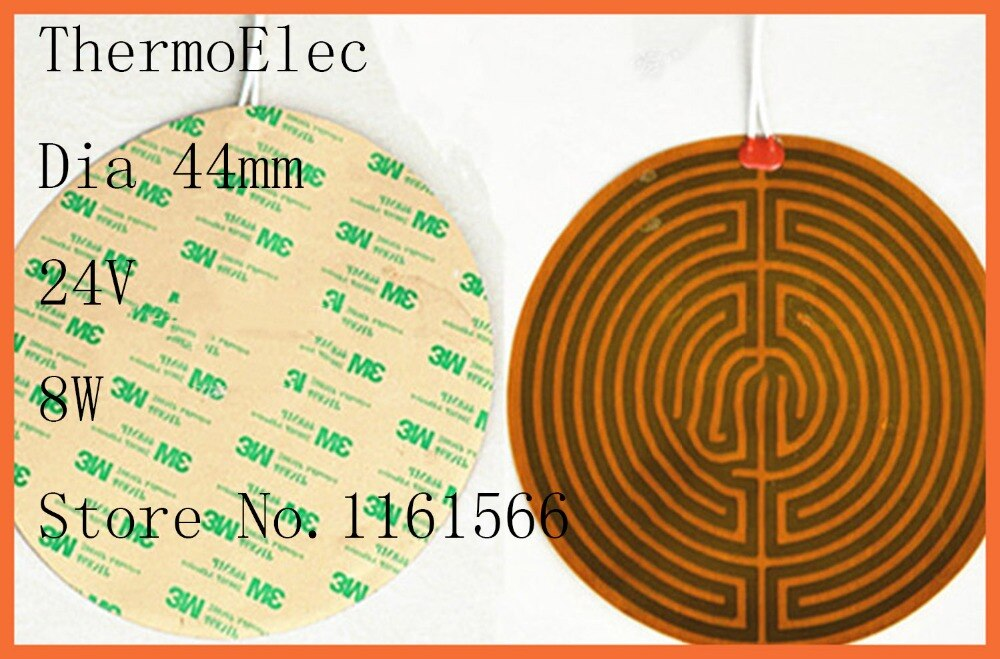 Dia 44mm 24V 8W Polyimide película de calentamiento calentador eléctrico PI/calentador de calor de cama de calor de sartén de aceite flexible calentador Industrial de impresora 3D