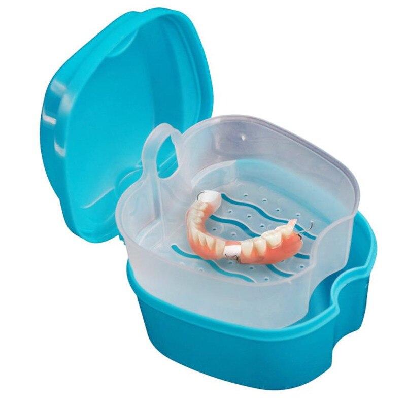 Dentadura banho caixa caso dental dentes falsos caixa de armazenamento com pendurado recipiente líquido dentro da rede pendurado útil caixa de dentes