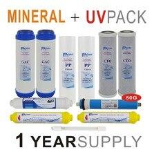 1 an fournir des ensembles de filtres de remplacement de système dosmose inverse ultraviolette minérale-11 filtres avec ampoule UV et Membrane RO 50 GPD