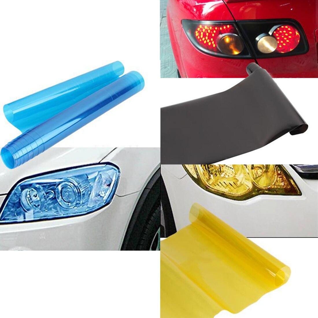 Dewtreetali 30cm x 120cm 7-Color Auto Car Tint Headlight Taillight Fog Light Vinyl Smoke Film Sheet Sticker Cover 12inchx48inch