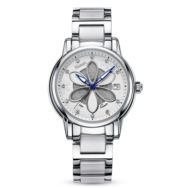 جديد سويسرا Nesun المرأة الساعات الفاخرة العلامة التجارية ساعة كوارتز المرأة ستة أوراق العشب تصميم ساعة المعصم الماس N9065-2