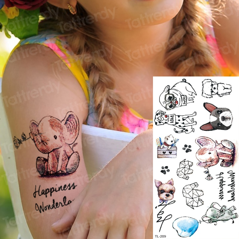 Tatuajes para niños tatuajes temporales en el tatuaje corporal mujeres falso tatuaje animales elefante perro pequeños tatuajes mano muñeca verano tatuajes