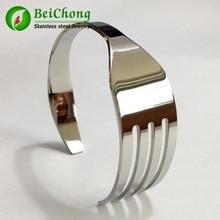 (10 pièces/lot) Bracelets de manchette de fourchette en acier inoxydable or Rose/or/argent Bracelets pour femmes/hommes Bracelet de fourchette en argent titane