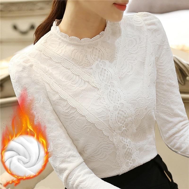 Camiseta de Encaje Coreano para Mujer, camiseta de manga larga negra y blanca gruesa con forro polar, Tops para Otoño e Invierno 2018, Ropa de Mujer T80403