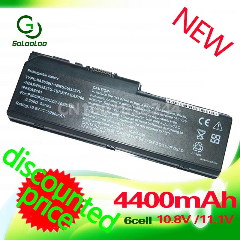 Golooloo batería de 4400MaH para toshiba Equium L350D P200 satélite Pro L350 L355 L350D L355D P200 P200D PA3537U-1B PA3536U-1BRS