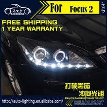 AKD-lampe frontale de coiffure de voiture   Pour Ford Focus 2 4 2009-2011 Focus LED DRL H7 D2H Hid, Option Angel Eye Bi faisceau xénon