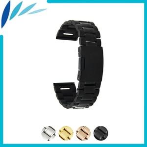 Stainless Steel Watch Band 22mm for Samsung Gear 2 R380 / R381 / R382 Watchband Strap Wrist Loop Belt Bracelet Black Silver