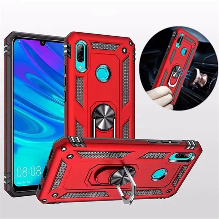 Para Huawei P Smart 2019 caja armadura de lujo a prueba de golpes para Huawei Honor 10 Lite/PSmart 2019 funda de anillo de silicona para coche