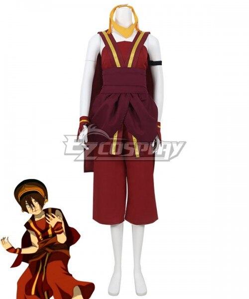 Avatar el último maestro aire Toph Beifong disfraz de cosplay rojo E001