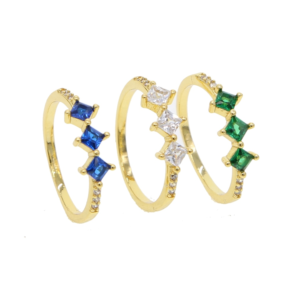 Joyería de tres piedras cz anillo azul, verde, blanco, zirconia cúbica 2018, anillo de dedo de moda minimalista para mujeres