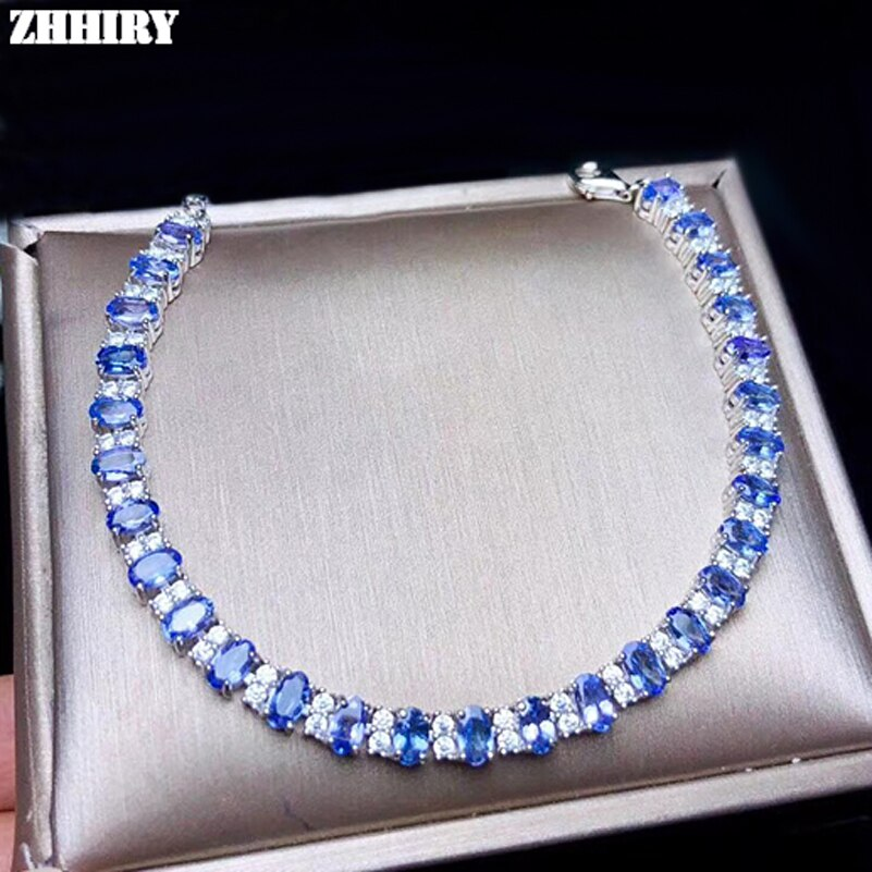 Promo ZHHIRY Real Natural Blue Tanzanite Solid 925 Sterling Silver Bracelet For Wome Genuine Gemstone Fine Jewelry