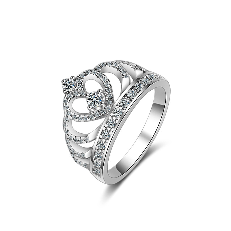 flyleaf 925 sterling silver rings for women cubic zirconia rotate creative fashion open ring femme fine jewelry wedding gift Luxury Crown Shine Cubic Zirconia 925 Sterling Silver Lady Wedding Rings Gift Women Original Jewelry Engagement Ring Wholesale