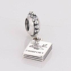 Authentic 925 prata encantos passaporte prata espaçador charme grânulo feminino jóias diy ajuste prata charme pulseiras para mulher & homem