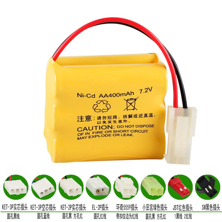 7,2 V 400mAh batería de Ni-CD Huanqi 510 513 523 control remoto de coche 6 baterías AA SM JST Tamiya KET-2P EL-2P 5559 KET-3P macho