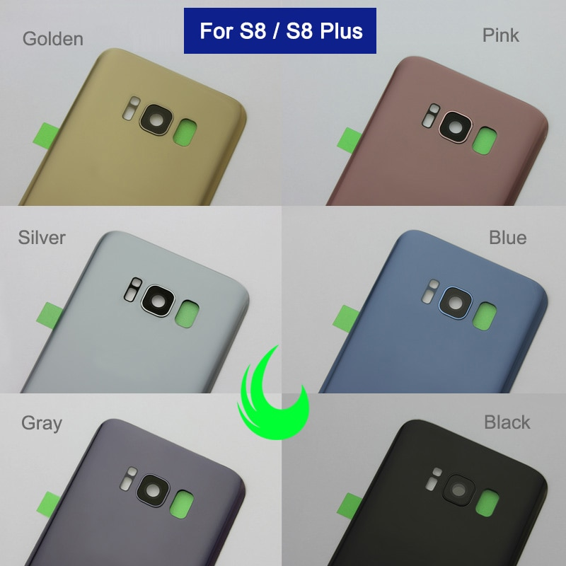 For Samsung Galaxy S8 G950 S8 Plus G955 Back Battery Cover Door Rear Glass Housing Case For SAMSUNG S8+ Back Cover +Camera Lens enlarge