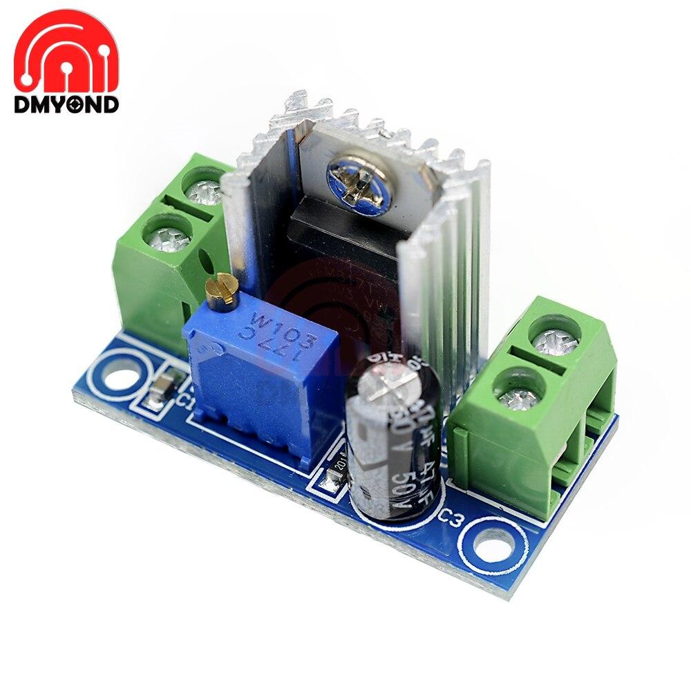 Módulo LM317, regulador lineal de tensión regulable, fuente de alimentación LM317 DC-DC, placa de convertidor Buck de reducción de 4,2-40V a 1,2-37V
