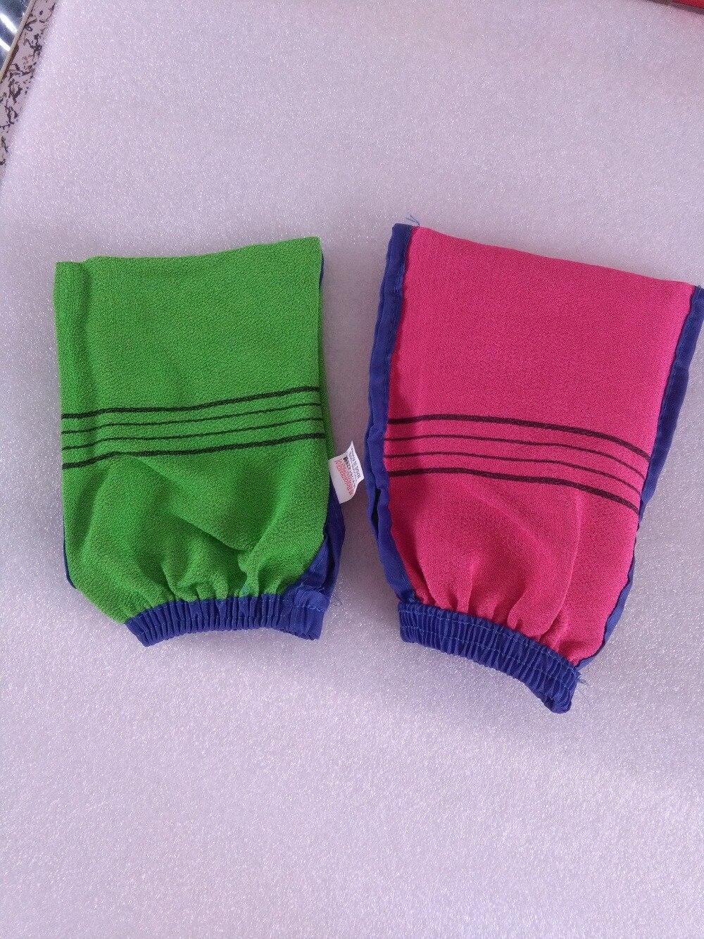 DHL 100pcs/lot High quality Double sided hammam scrub mitt magic peeling glove exfoliating tan removal mitt