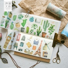 10 cm Wide Travel Daily Cactus Paradise Leaves Washi Tape Adhesive Tape DIY Scrapbooking Sticker Label Masking Tape