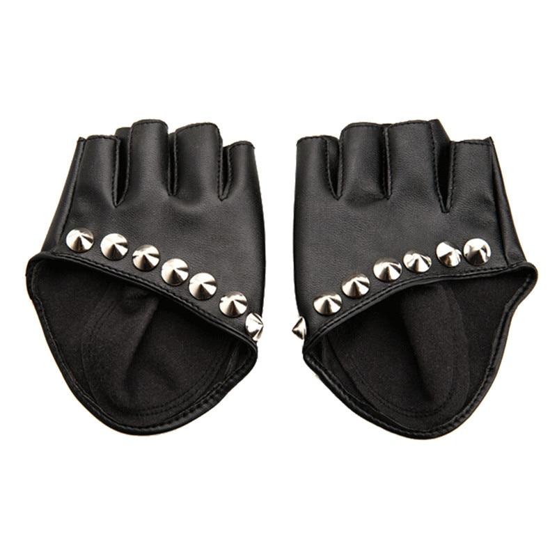 Guantes de mujer 2017 modernos guantes de cuero de PU para motocicleta, bicicleta y coche guantes sin dedos para actuaciones sin dedos para Fitness