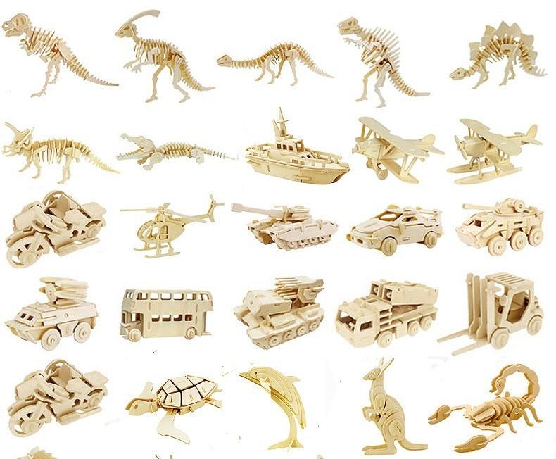 DIY rompecabezas de madera 3D Animal/insecto/avión/dinosaurio MODELO DE MONTAJE Kits de construcción IQ juguetes educativos para niños regalo juguete